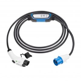 EV charging cable Type 1 to CEE plug with controlbox 32A